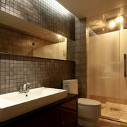 后现代风格暖色系简约卫生间装修效果图
