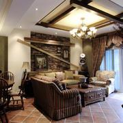 美式简约原木客厅吊顶装饰