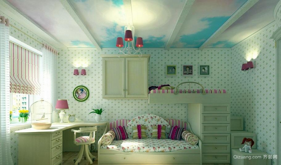 清新大户型儿童房壁纸装修效果图片大全