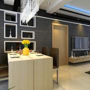 复式楼后现代风格深色系餐厅装修效果图