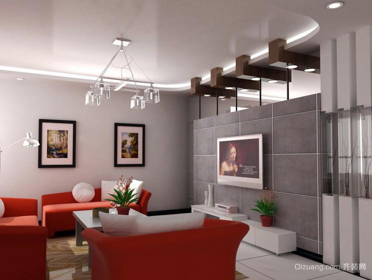三居室保护视力客厅电视背景墙效果图