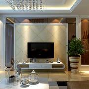 128平米深色调客厅电视背景墙效果图