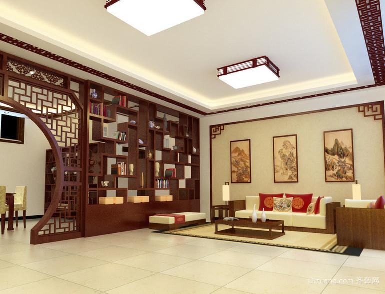 唯美大户型精致的中式客厅装修效果图