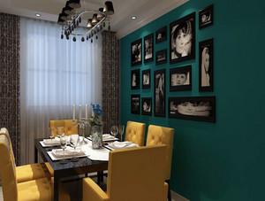 两室一厅美式简约风格餐厅背景墙装饰图