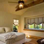 美式乡村卧室大飘窗装修设计效果图
