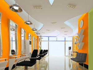 亮色系简约时尚现代化发廊装修效果图