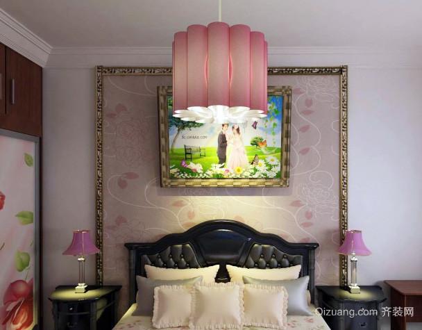 婚房欧式简约的卧室床头背景墙装修效果图