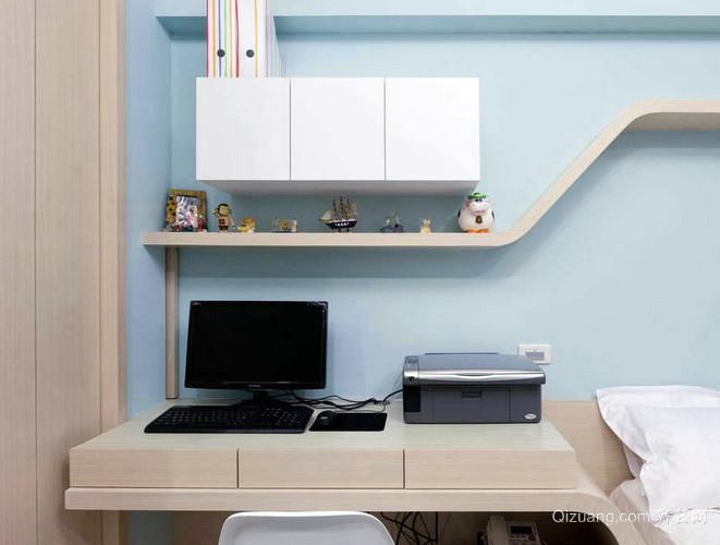 现代简约风格卧室简约电脑桌装修效果图