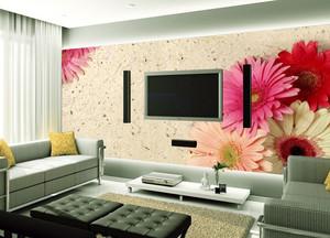 110平米客厅电视背景壁纸装修效果图片