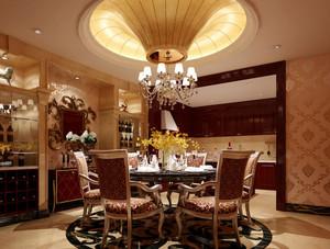别墅法式风格圆形餐厅吊顶装修效果图