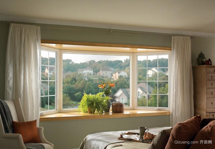 别墅美式卧室时尚飘窗装修设计效果图