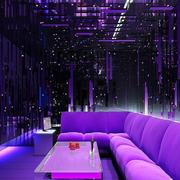 紫色系简约风格ktv沙发装饰