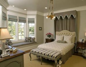 复古美式别墅卧室飘窗装修设计效果图