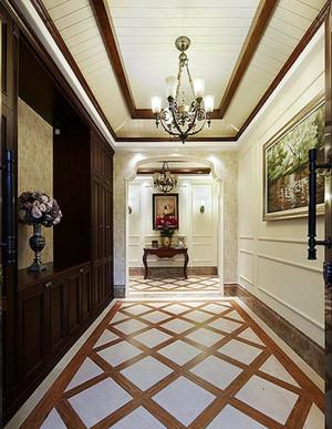 别墅美式风格客厅过道吊顶装修效果图
