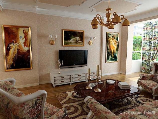 复式楼法式风格奢华大气客厅背景墙装修图