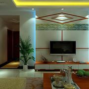 中式简约风格老房电视背景墙装饰