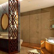 大户型东南亚风格原木深色卫生间装修效果图