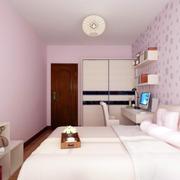 粉色小户型卧室壁纸装修效果图片大全