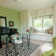 清新小客厅飘窗置物柜装修设计效果图