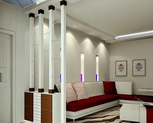 中式简约风格两室一厅玄关隔断装修效果图