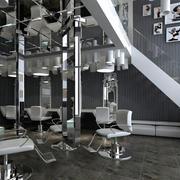 后现代风格灰色系简约发廊装修效果图