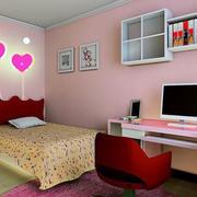 现代简约可爱粉色系儿童房电脑桌装饰