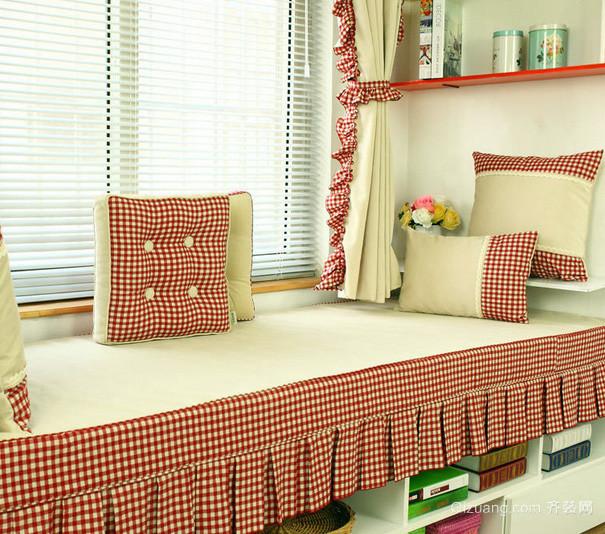 两室一厅韩式清新风格卧室飘窗装修效果图