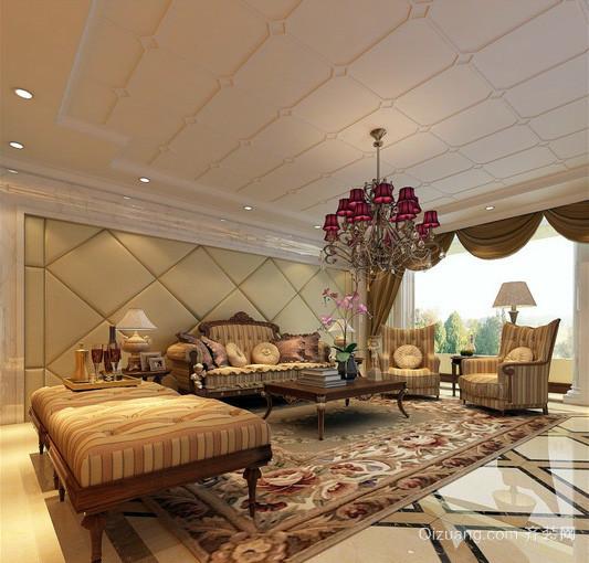 120平米复式楼欧式奢华客厅装修效果图