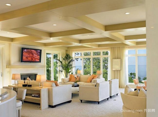 大户型美式简约风格浅色样板房客厅装修图