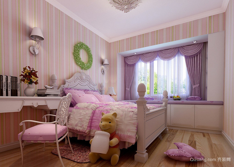 粉紫色甜美小公主儿童房装修设计效果图