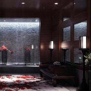 大型中式简约风格深色系会所休息室装修效果图