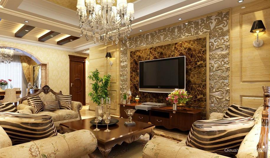 欧式大户型别墅客厅电视背景墙效果图