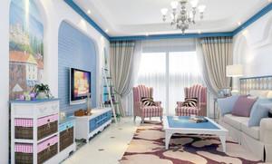 甜美小户型单身公寓客厅装修效果图