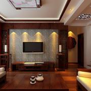 复式楼中式客厅电视背景墙装修效果图