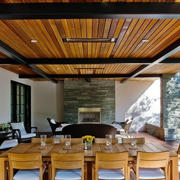 美式简约餐厅原木吊顶装饰