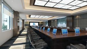 简欧大会议室效果图内部造型图