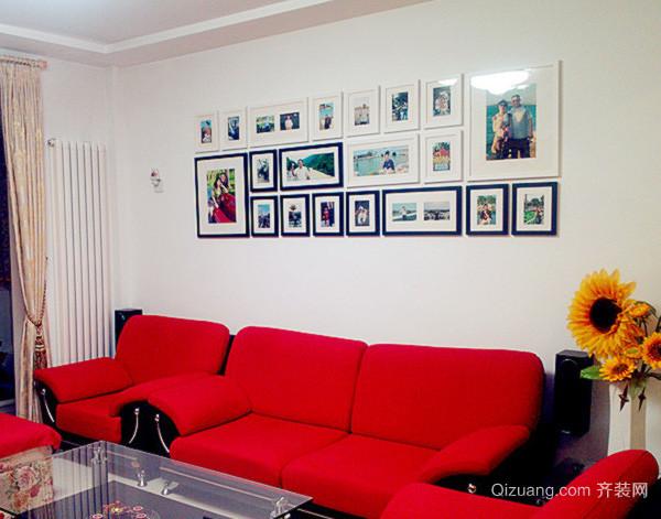 120平米现代简约风格婚房客厅照片墙装饰