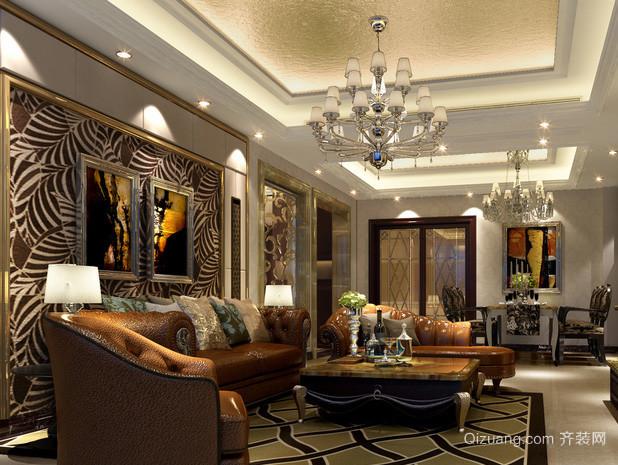 欧式经典风格深色沙发背景墙装饰图