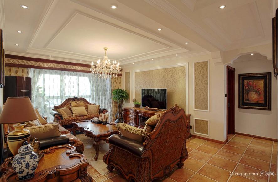 古典美式大户型客厅吊顶装修设计效果图