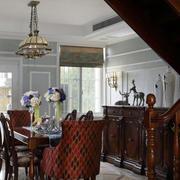 大型别墅美式风格深色餐厅样板房装修图