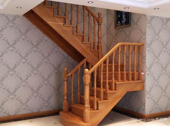 精致大户型室内实木楼梯装修效果图