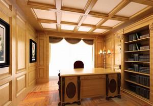 大型别墅豪华书房吊顶装修设计效果图