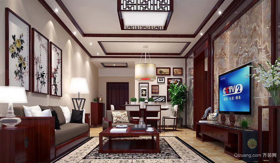 中式风格小户型公寓客厅装修效果图