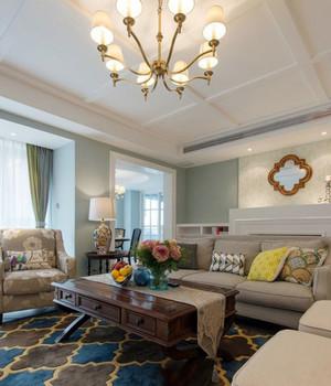 90平米美式简约风格客厅样板间装修效果图