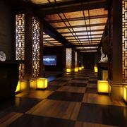 中式简约风格会所原木深色过道装饰