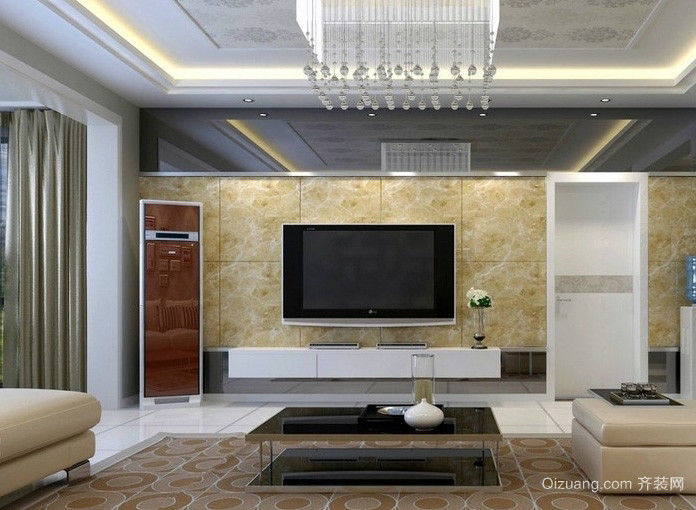现代简约大客厅吊顶装修设计效果图