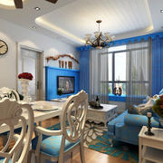 70平米地中海小户型客厅装修效果图