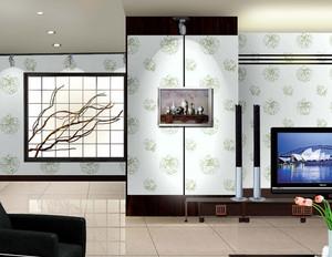 后现代风格清新浅色客厅液体墙纸背景墙装饰