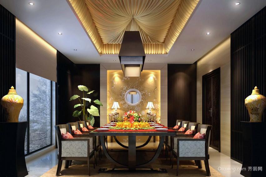 大户型奢华别墅中式餐厅装修效果图