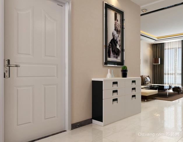复式楼后现代风格白色系进门鞋柜装饰图